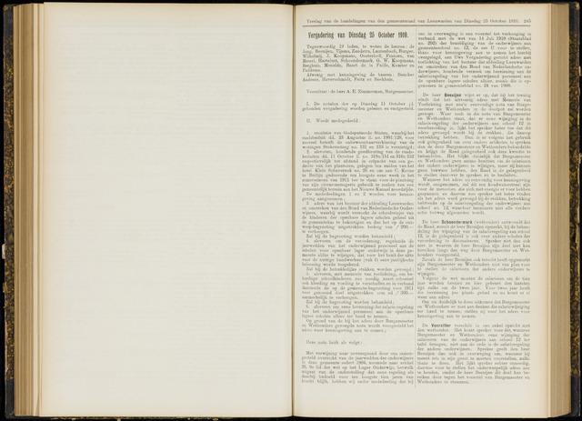 Raadsverslagen van de gemeente Leeuwarden, 1865-2007 (Notulen) 1910-10-25