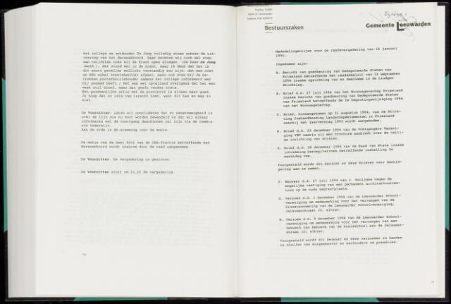 Raadsverslagen van de gemeente Leeuwarden, 1865-2007 (Bijlagen) 1995