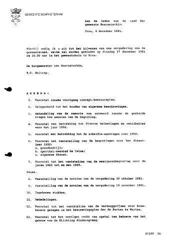 Boarnsterhim vergaderstukken gemeenteraad  1991-12-17