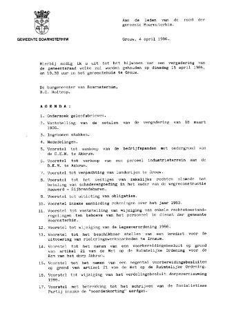 Boarnsterhim vergaderstukken gemeenteraad  1986-04-15