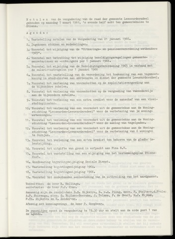Notulen van de gemeenteraad van Leeuwarderadeel 1966-03-07