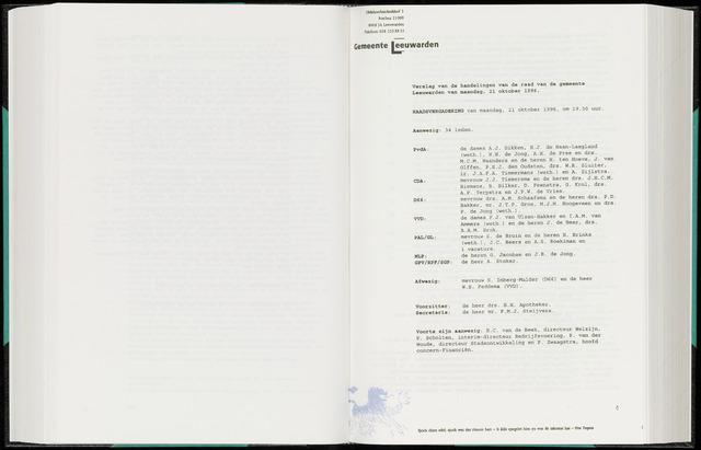 Raadsverslagen van de gemeente Leeuwarden, 1865-2007 (Notulen) 1996-10-21