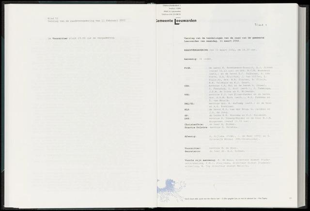 Raadsverslagen van de gemeente Leeuwarden, 1865-2007 (Notulen) 2002-03-11