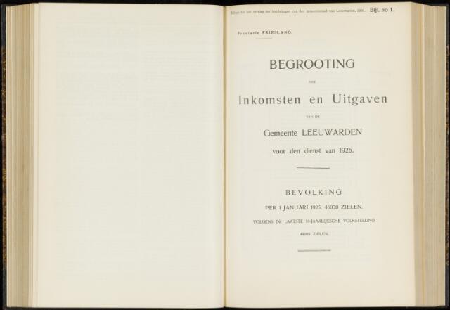 Raadsverslagen van de gemeente Leeuwarden, 1865-2007 (Bijlagen) 1926-01-01