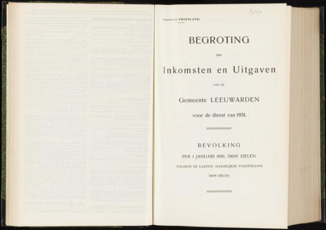Raadsverslagen van de gemeente Leeuwarden, 1865-2007 (Bijlagen) 1951-01-01