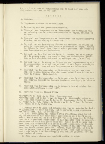 Notulen van de gemeenteraad van Leeuwarderadeel 1954-05-20
