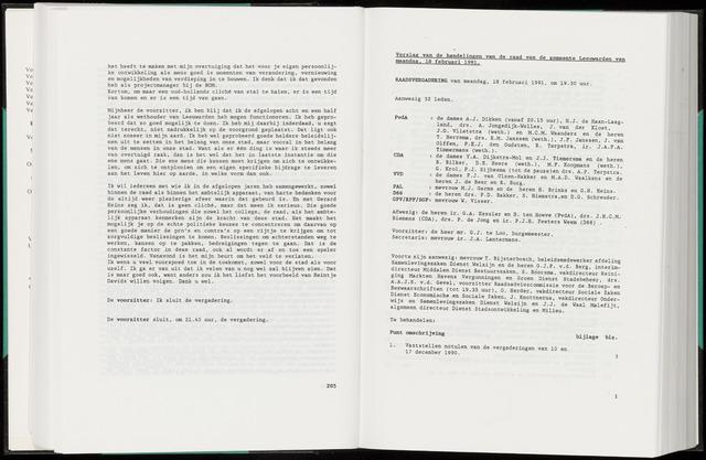 Raadsverslagen van de gemeente Leeuwarden, 1865-2007 (Notulen) 1991-02-18