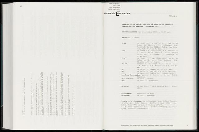Raadsverslagen van de gemeente Leeuwarden, 1865-2007 (Notulen) 2002-11-18