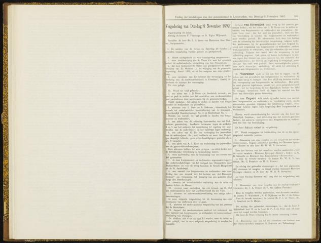Raadsverslagen van de gemeente Leeuwarden, 1865-2007 (Notulen) 1892-11-08