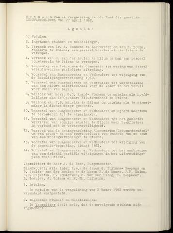 Notulen van de gemeenteraad van Leeuwarderadeel 1962-04-27