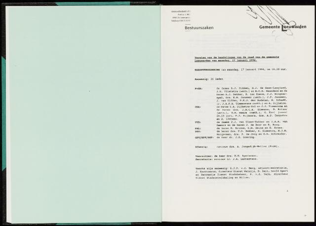 Raadsverslagen van de gemeente Leeuwarden, 1865-2007 (Notulen) 1994