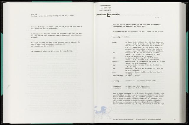 Raadsverslagen van de gemeente Leeuwarden, 1865-2007 (Notulen) 1998-04-20