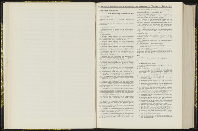 Raadsverslagen van de gemeente Leeuwarden, 1865-2007 (Notulen) 1953-02-25