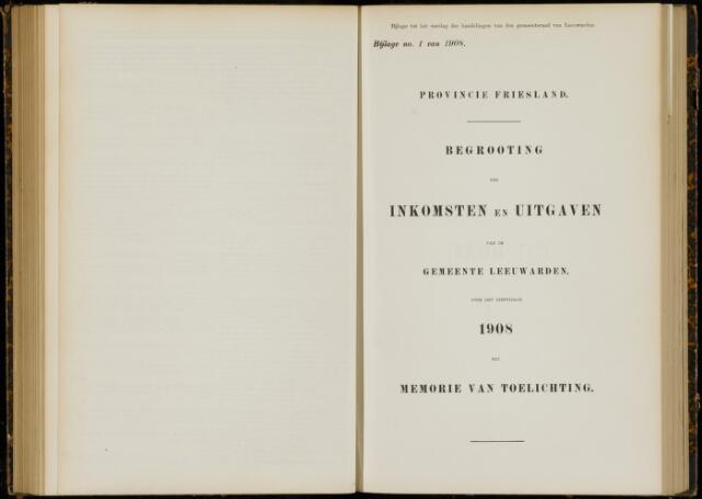 Raadsverslagen van de gemeente Leeuwarden, 1865-2007 (Bijlagen) 1908