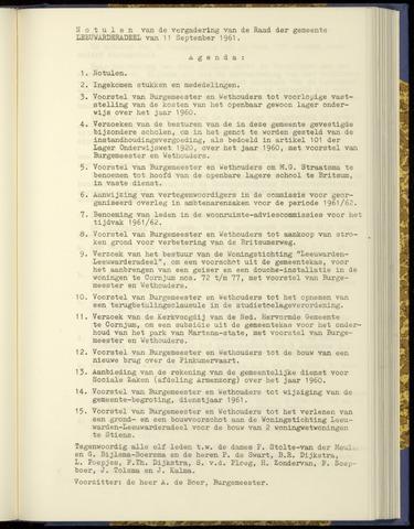 Notulen van de gemeenteraad van Leeuwarderadeel 1961-09-11