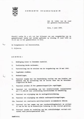 Boarnsterhim vergaderstukken gemeenteraad  1993-06-15