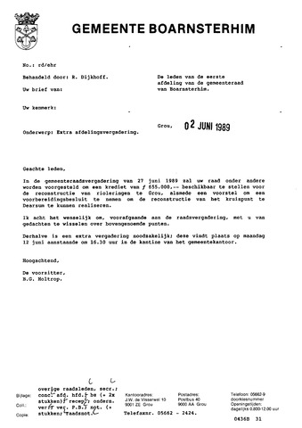 Boarnsterhim vergaderstukken gemeenteraad  1989-06-12
