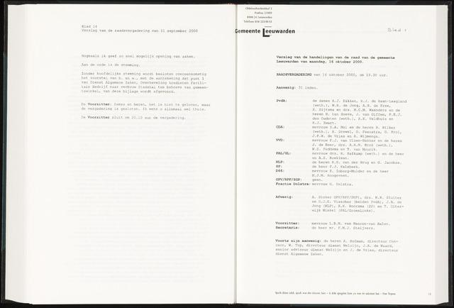 Raadsverslagen van de gemeente Leeuwarden, 1865-2007 (Notulen) 2000-10-16