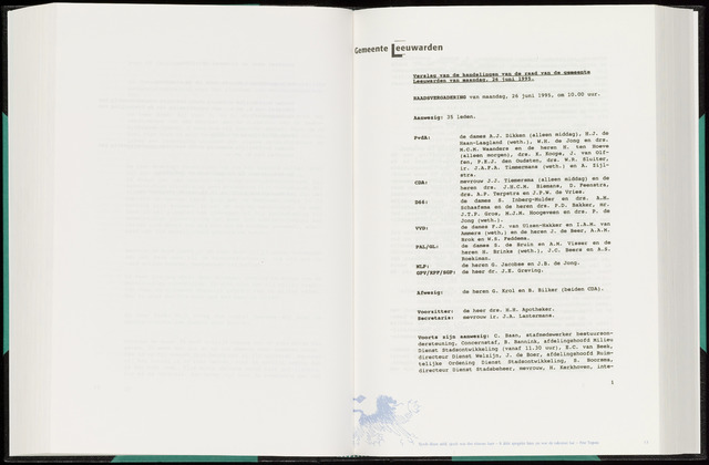 Raadsverslagen van de gemeente Leeuwarden, 1865-2007 (Notulen) 1995-06-26