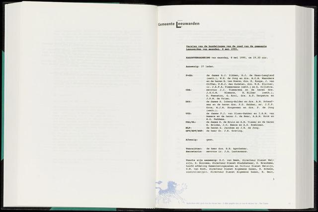Raadsverslagen van de gemeente Leeuwarden, 1865-2007 (Notulen) 1995-05-08