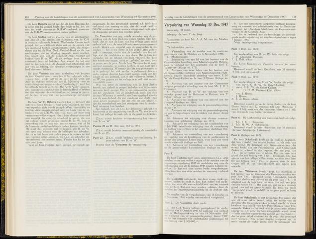 Raadsverslagen van de gemeente Leeuwarden, 1865-2007 (Notulen) 1947-12-10