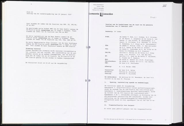 Raadsverslagen van de gemeente Leeuwarden, 1865-2007 (Notulen) 2007-02-19