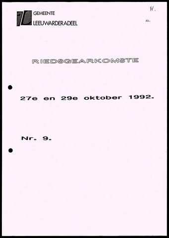 Notulen van de gemeenteraad van Leeuwarderadeel 1992-10-27