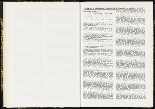 Raadsverslagen van de gemeente Leeuwarden, 1865-2007 (Notulen) 1966-04-18