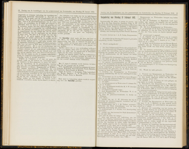 Raadsverslagen van de gemeente Leeuwarden, 1865-2007 (Notulen) 1912-02-13