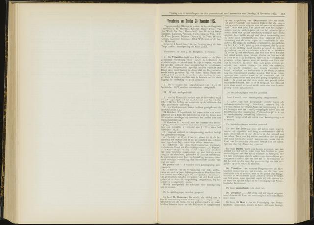 Raadsverslagen van de gemeente Leeuwarden, 1865-2007 (Notulen) 1922-11-28