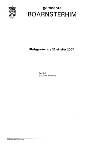 Boarnsterhim vergaderstukken gemeenteraad  2007-10-23