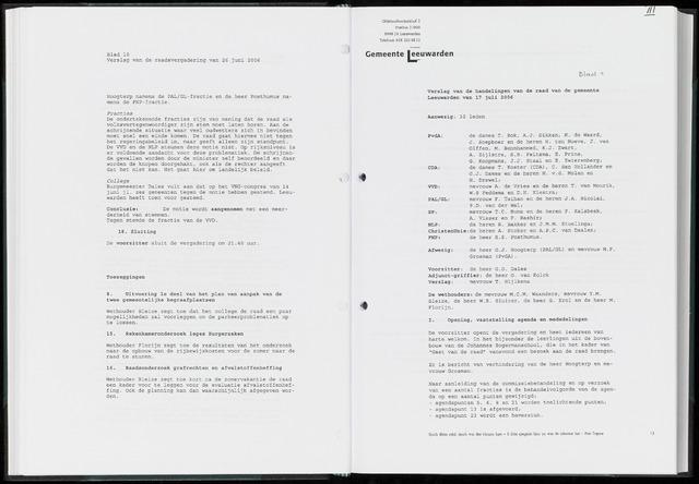 Raadsverslagen van de gemeente Leeuwarden, 1865-2007 (Notulen) 2006-07-17
