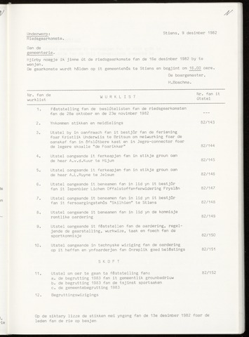 Notulen van de gemeenteraad van Leeuwarderadeel 1982-12-16