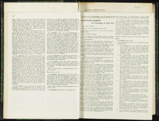 Raadsverslagen van de gemeente Leeuwarden, 1865-2007 (Notulen) 1952-04-23