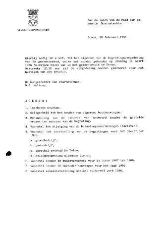 Boarnsterhim vergaderstukken gemeenteraad  1986-03-11