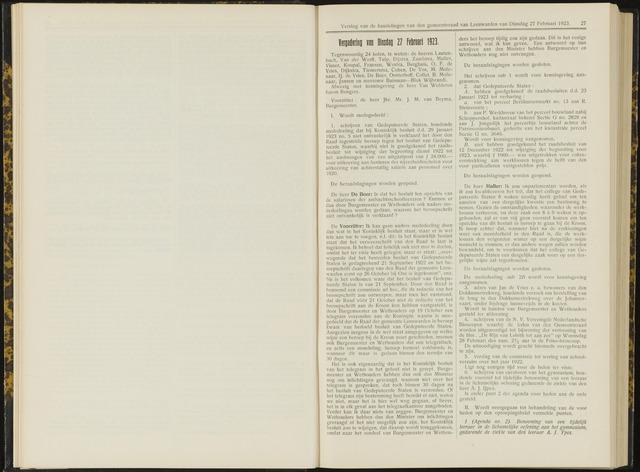 Raadsverslagen van de gemeente Leeuwarden, 1865-2007 (Notulen) 1923-02-27