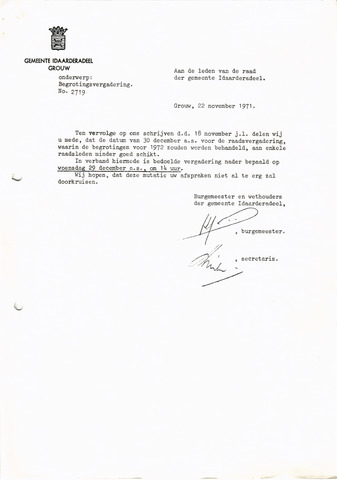 raadsverslagen Idaarderadeel 1935-1983 1971-12-29