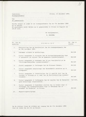 Notulen van de gemeenteraad van Leeuwarderadeel 1984-12-20