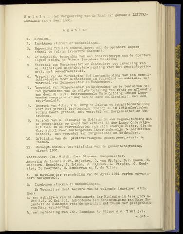 Notulen van de gemeenteraad van Leeuwarderadeel 1951-06-04