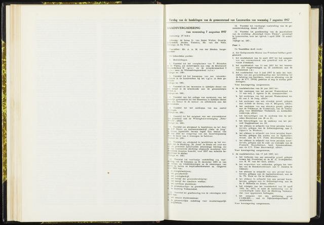 Raadsverslagen van de gemeente Leeuwarden, 1865-2007 (Notulen) 1957-08-07