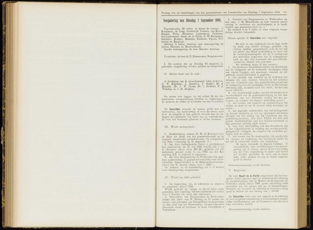 Raadsverslagen van de gemeente Leeuwarden, 1865-2007 (Notulen) 1909-09-07