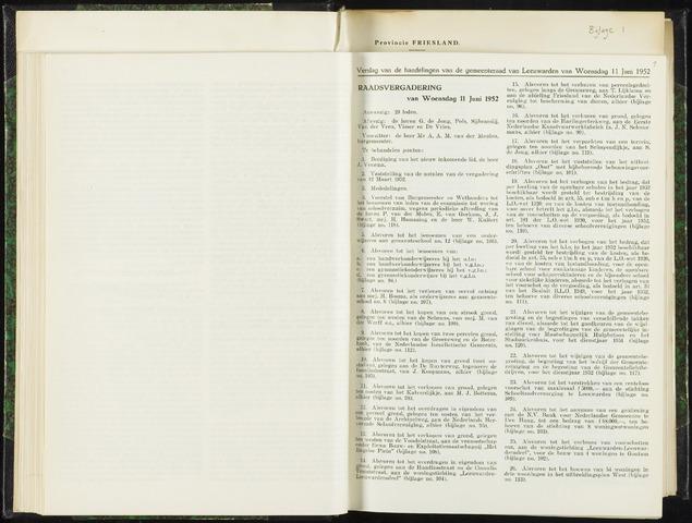 Raadsverslagen van de gemeente Leeuwarden, 1865-2007 (Notulen) 1952-06-11