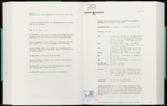 Raadsverslagen van de gemeente Leeuwarden, 1865-2007 (Notulen) 1998-07-06