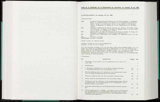 Raadsverslagen van de gemeente Leeuwarden, 1865-2007 (Notulen) 1985-06-24