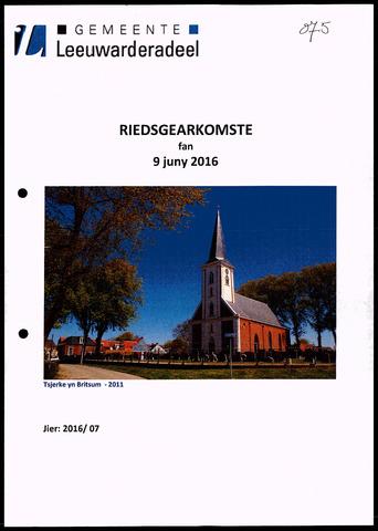 Notulen van de gemeenteraad van Leeuwarderadeel 2016-06-09