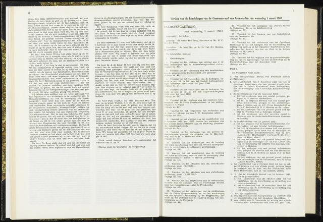 Raadsverslagen van de gemeente Leeuwarden, 1865-2007 (Notulen) 1961-03-01