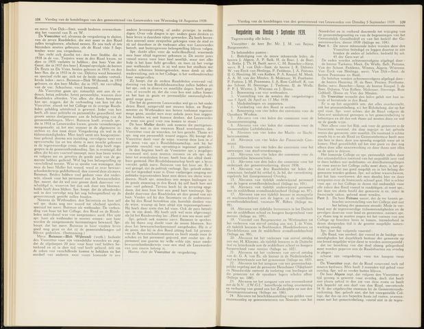Raadsverslagen van de gemeente Leeuwarden, 1865-2007 (Notulen) 1939-09-05