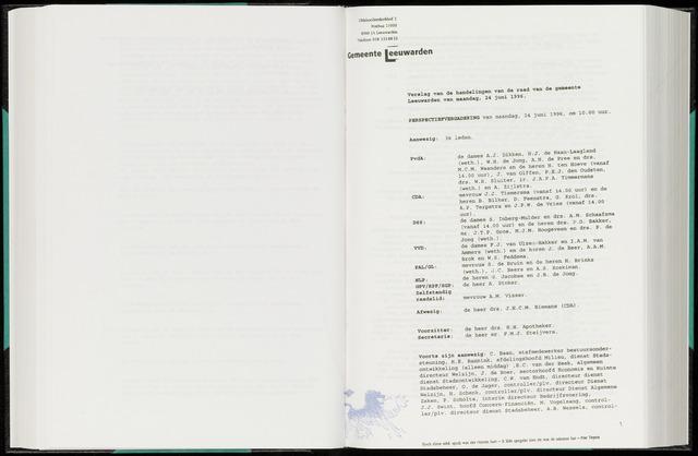 Raadsverslagen van de gemeente Leeuwarden, 1865-2007 (Notulen) 1996-06-24
