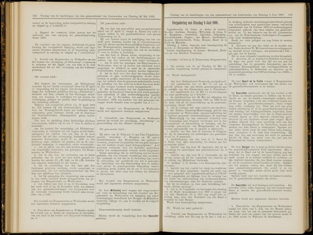 Raadsverslagen van de gemeente Leeuwarden, 1865-2007 (Notulen) 1908-06-09