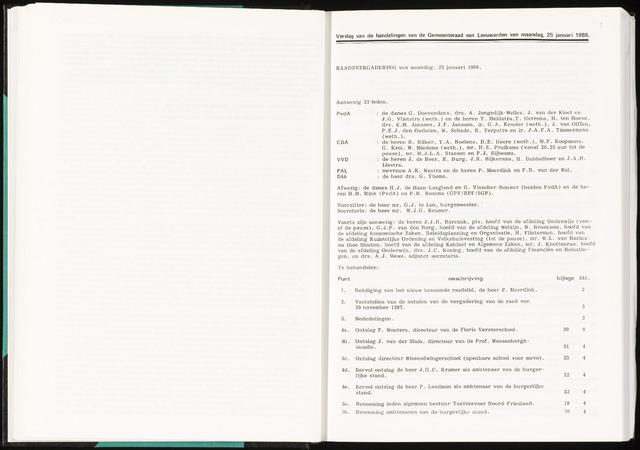 Raadsverslagen van de gemeente Leeuwarden, 1865-2007 (Notulen) 1988-01-25